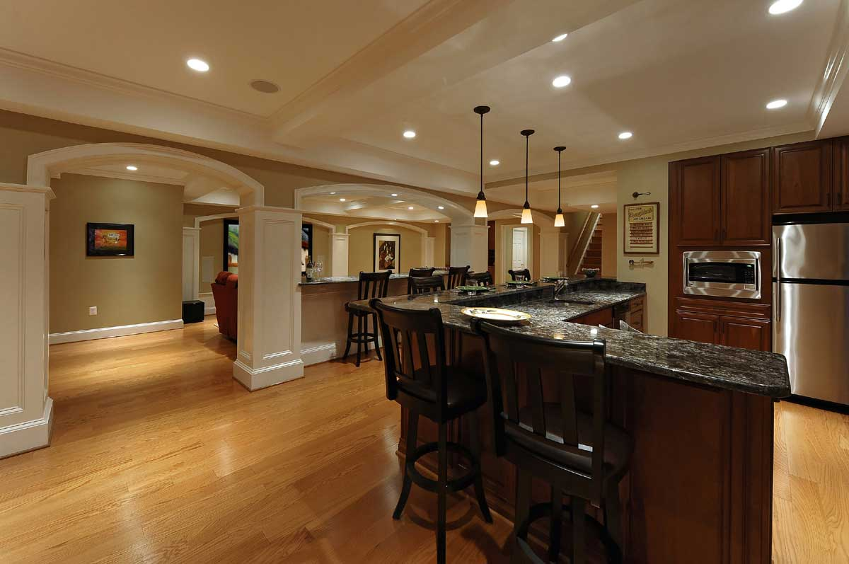 large basement renovation with